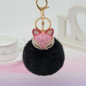 Accessories - NEW Jeweled Fox pom pom Handbag Charm   Keychain 6b0fc7f07